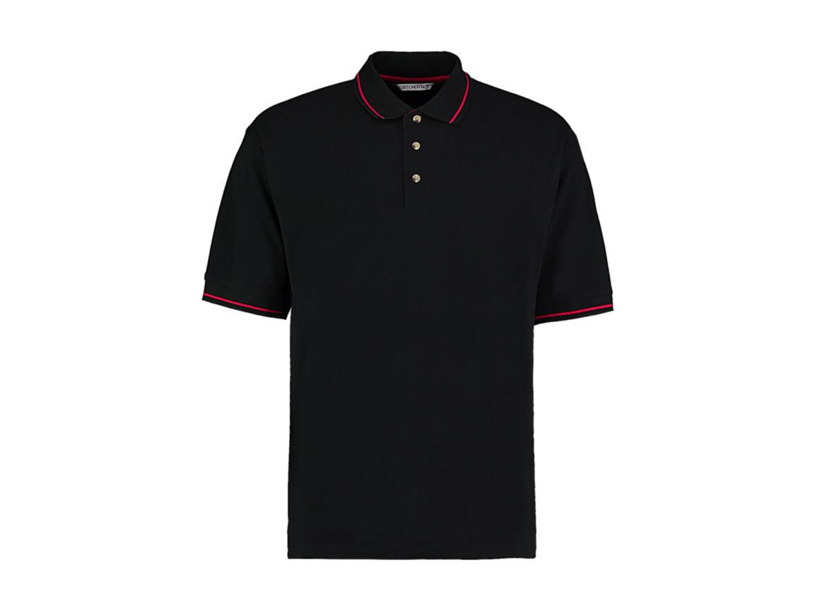 Kustom Kit Men`s Classic Fit St. Mellion Polo, Black/Red, M bedrucken, Art.-Nr. 504111544