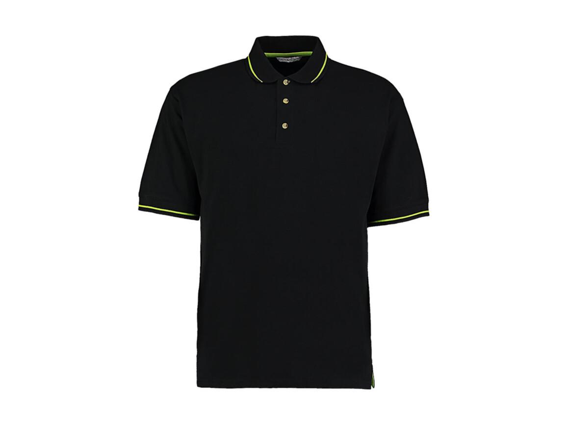 Kustom Kit Men`s Classic Fit St. Mellion Polo, Black/Lime, XL bedrucken, Art.-Nr. 504111556