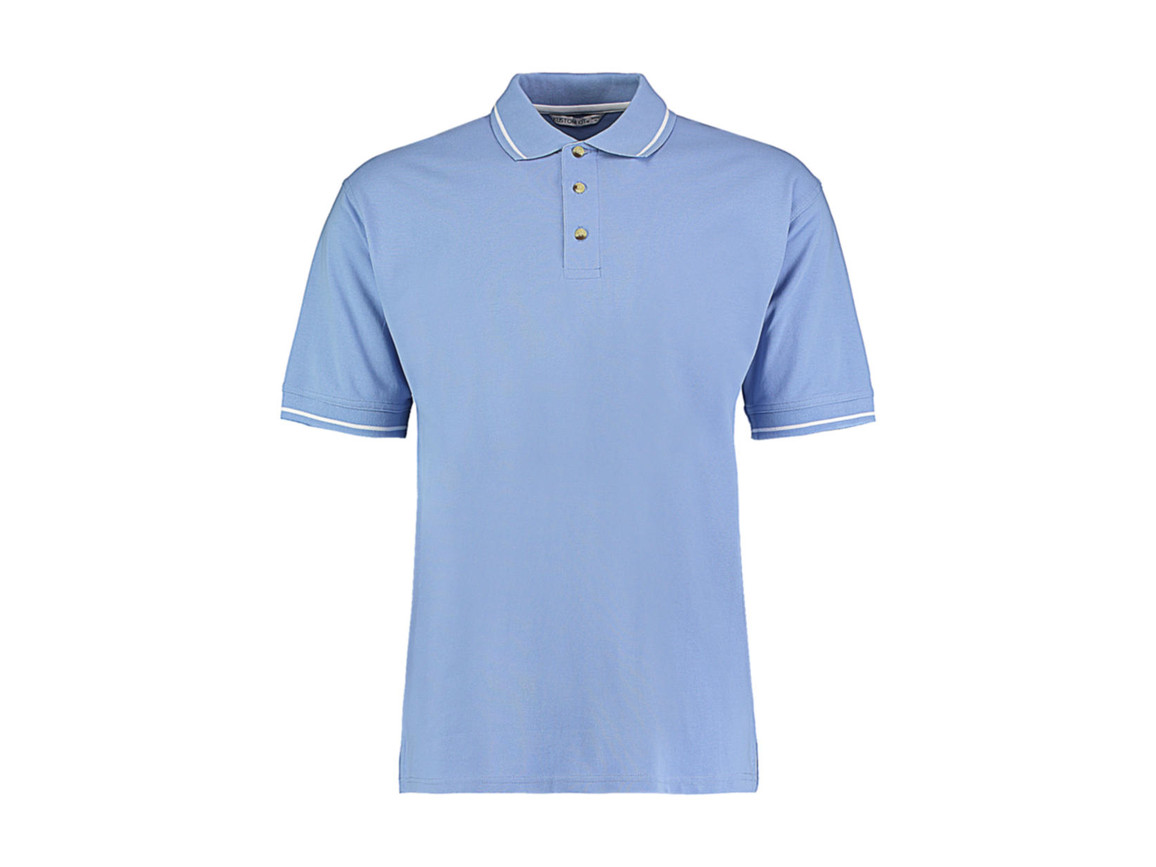 Kustom Kit Men`s Classic Fit St. Mellion Polo, Light Blue/White, XL bedrucken, Art.-Nr. 504113596