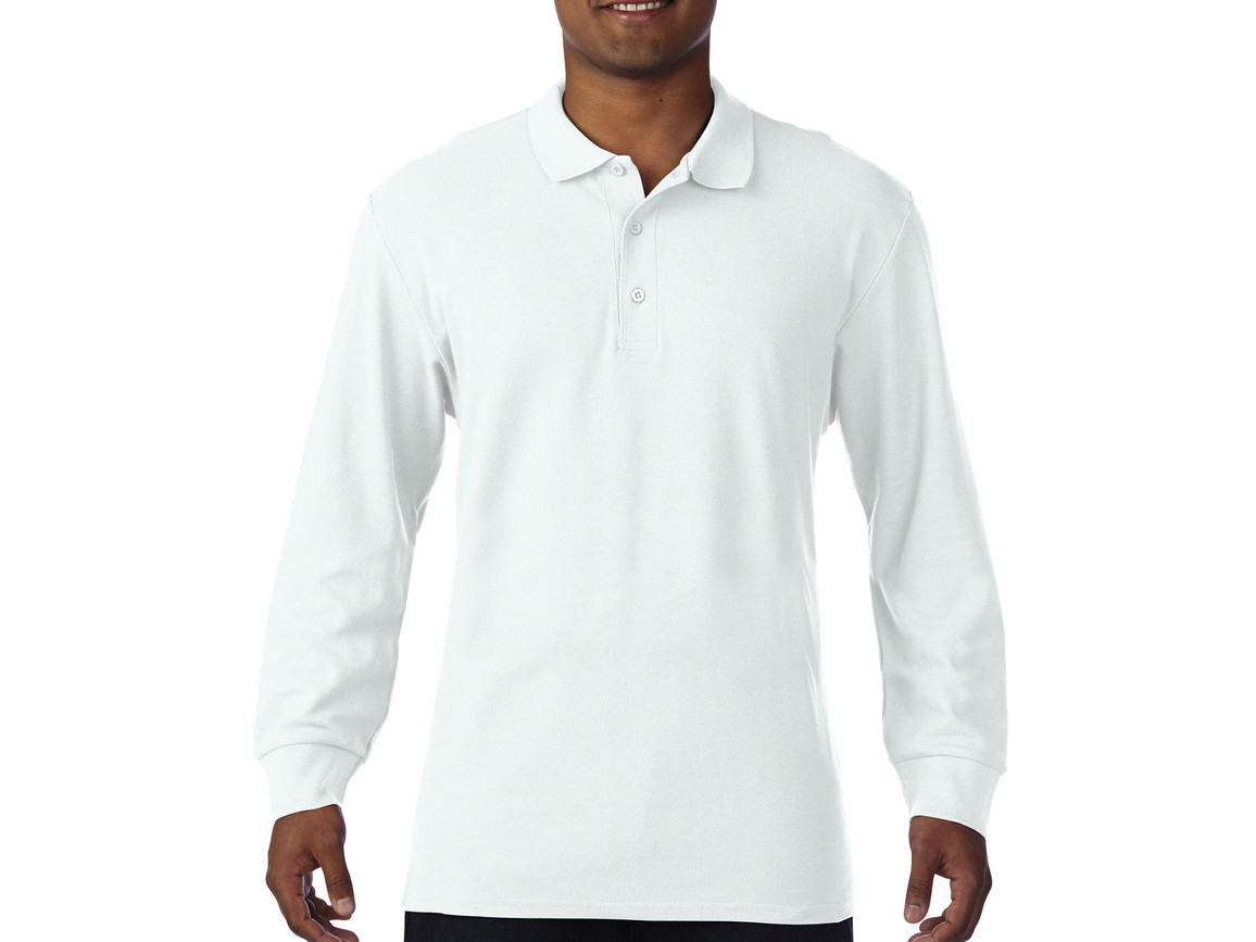 Gildan Premium Cotton Adult Double Piqué Polo LS, White, S bedrucken, Art.-Nr. 505090003