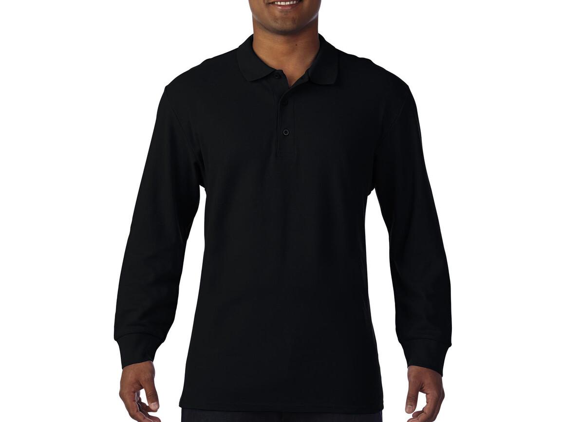 Gildan Premium Cotton Adult Double Piqué Polo LS, Black, 3XL bedrucken, Art.-Nr. 505091018