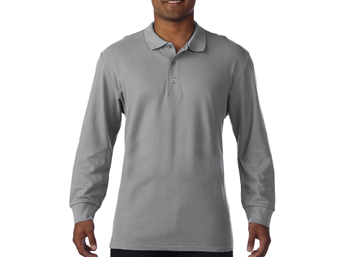 Gildan Premium Cotton Adult Double Piqué Polo LS, Sport Grey, M bedrucken, Art.-Nr. 505091254
