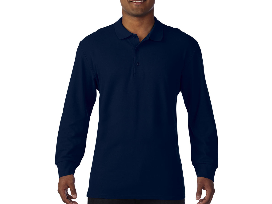Gildan Premium Cotton Adult Double Piqué Polo LS, Navy, L bedrucken, Art.-Nr. 505092005