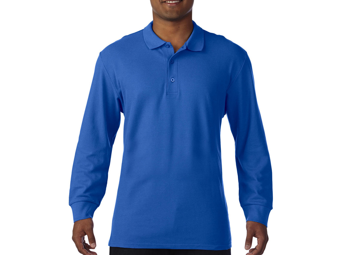 Gildan Premium Cotton Adult Double Piqué Polo LS, Royal, 3XL bedrucken, Art.-Nr. 505093008