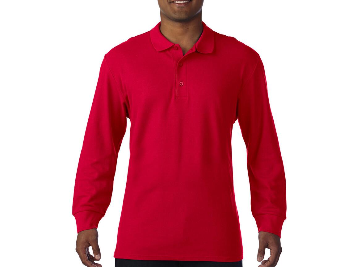 Gildan Premium Cotton Adult Double Piqué Polo LS, Red, M bedrucken, Art.-Nr. 505094004