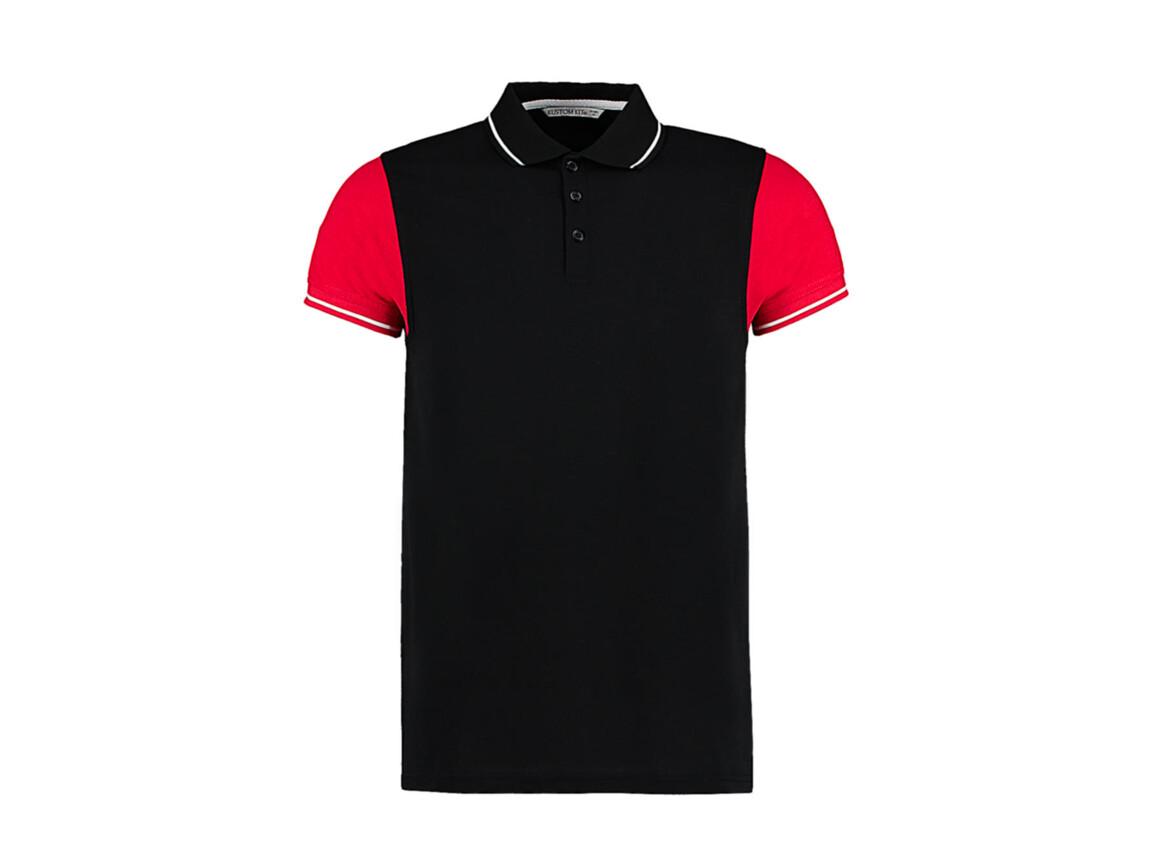 Kustom Kit Fashion Fit Contrast Tipped Polo, Black/Red/White, M bedrucken, Art.-Nr. 506111854