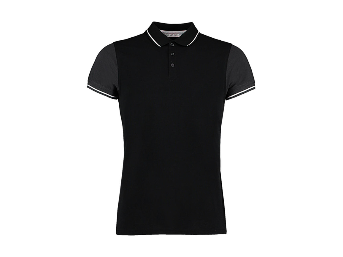 Kustom Kit Fashion Fit Contrast Tipped Polo, Black/Graphite/White, L bedrucken, Art.-Nr. 506111875