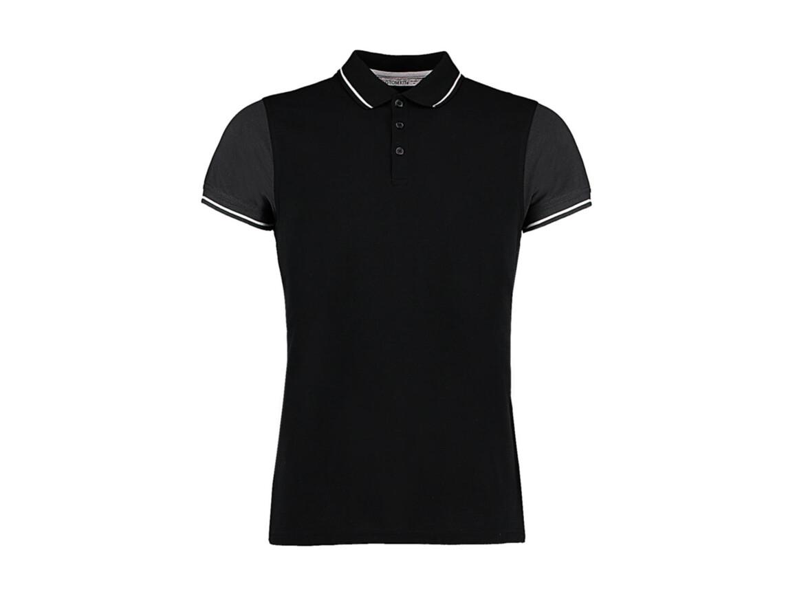 Kustom Kit Fashion Fit Contrast Tipped Polo, Black/Graphite/White, M bedrucken, Art.-Nr. 506111874