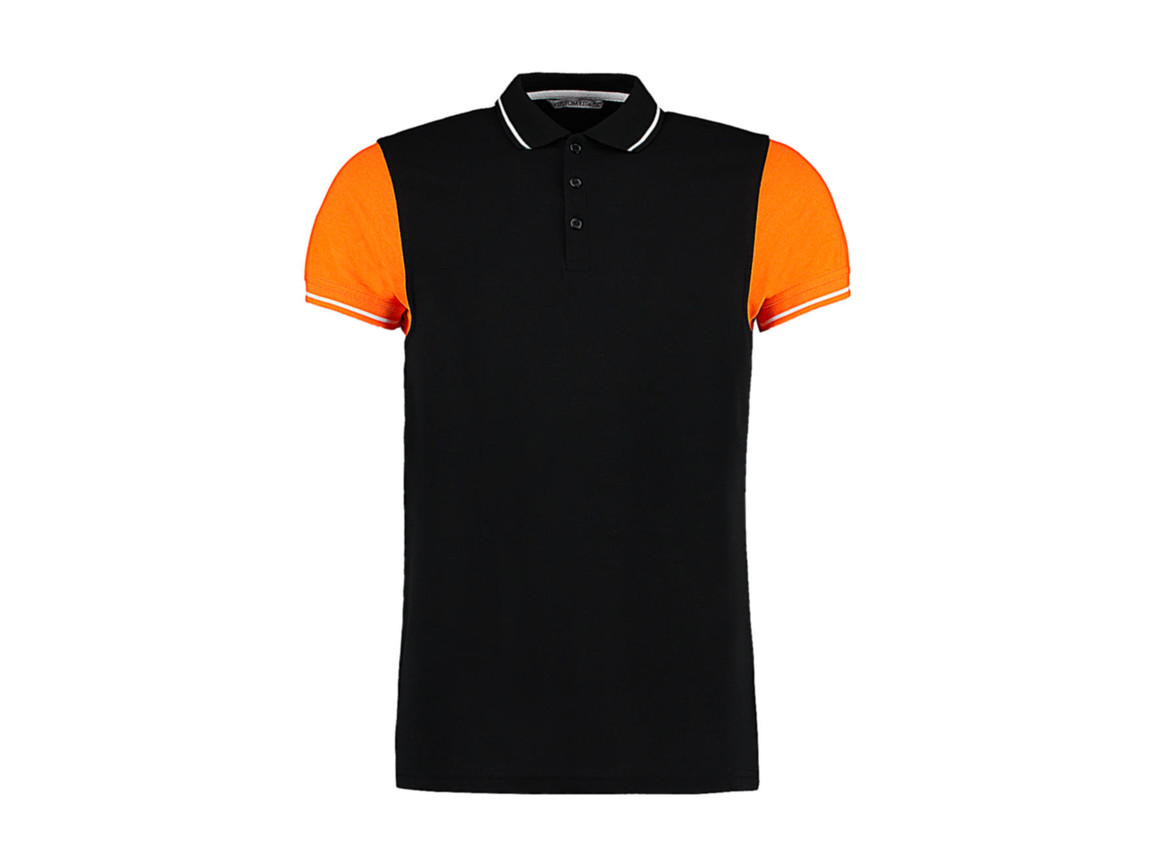 Kustom Kit Fashion Fit Contrast Tipped Polo, Black/Orange/White, 2XL bedrucken, Art.-Nr. 506111977