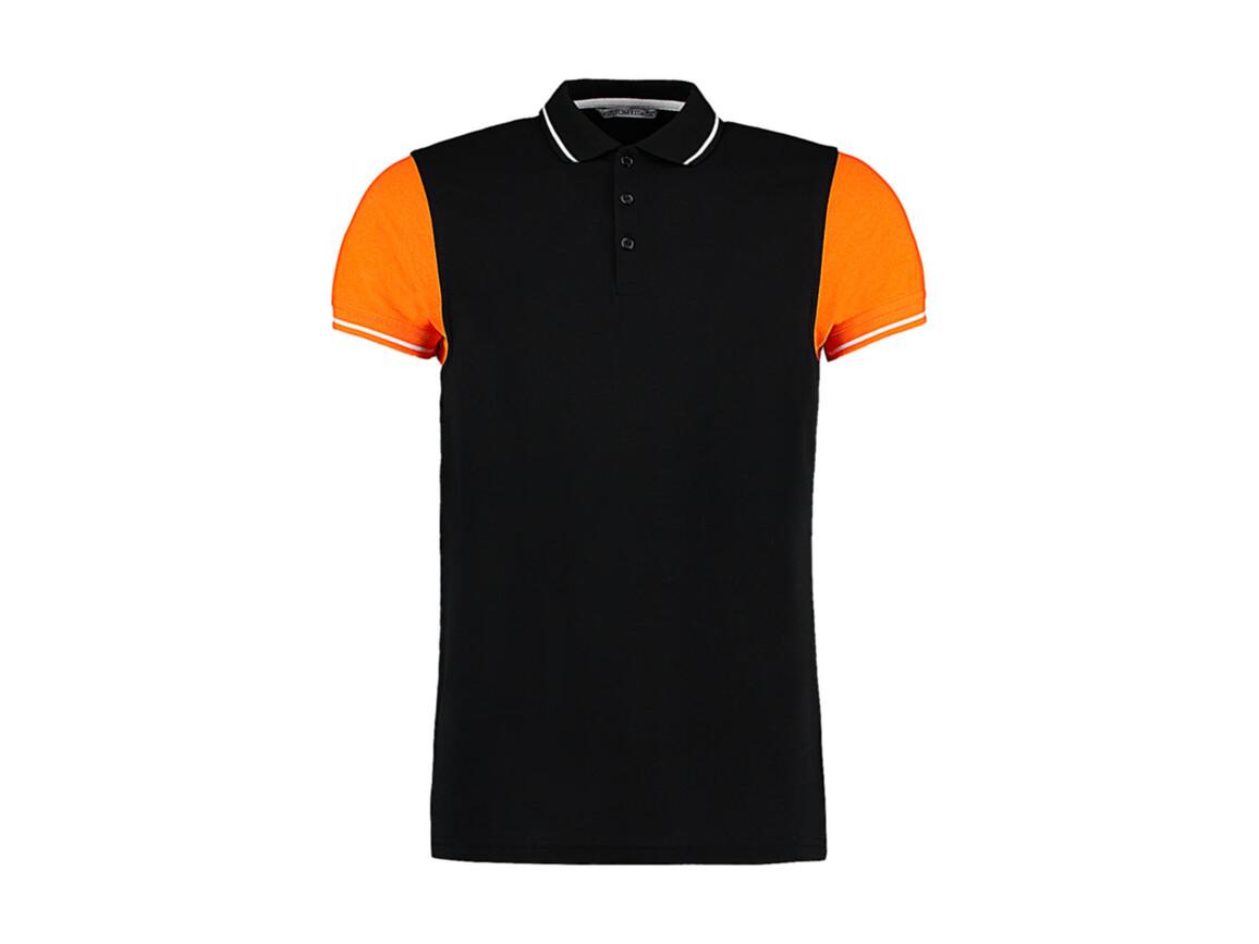 Kustom Kit Fashion Fit Contrast Tipped Polo, Black/Orange/White, L bedrucken, Art.-Nr. 506111975