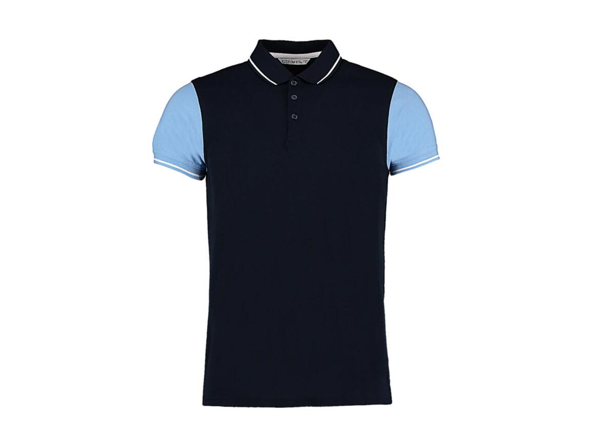 Kustom Kit Fashion Fit Contrast Tipped Polo, Navy/Light Blue/White, M bedrucken, Art.-Nr. 506112834