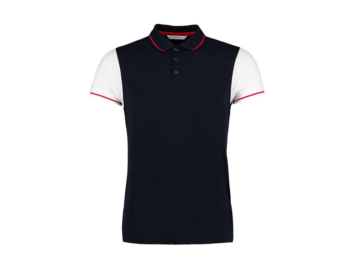 Kustom Kit Fashion Fit Contrast Tipped Polo, Navy/White/Red, M bedrucken, Art.-Nr. 506112864