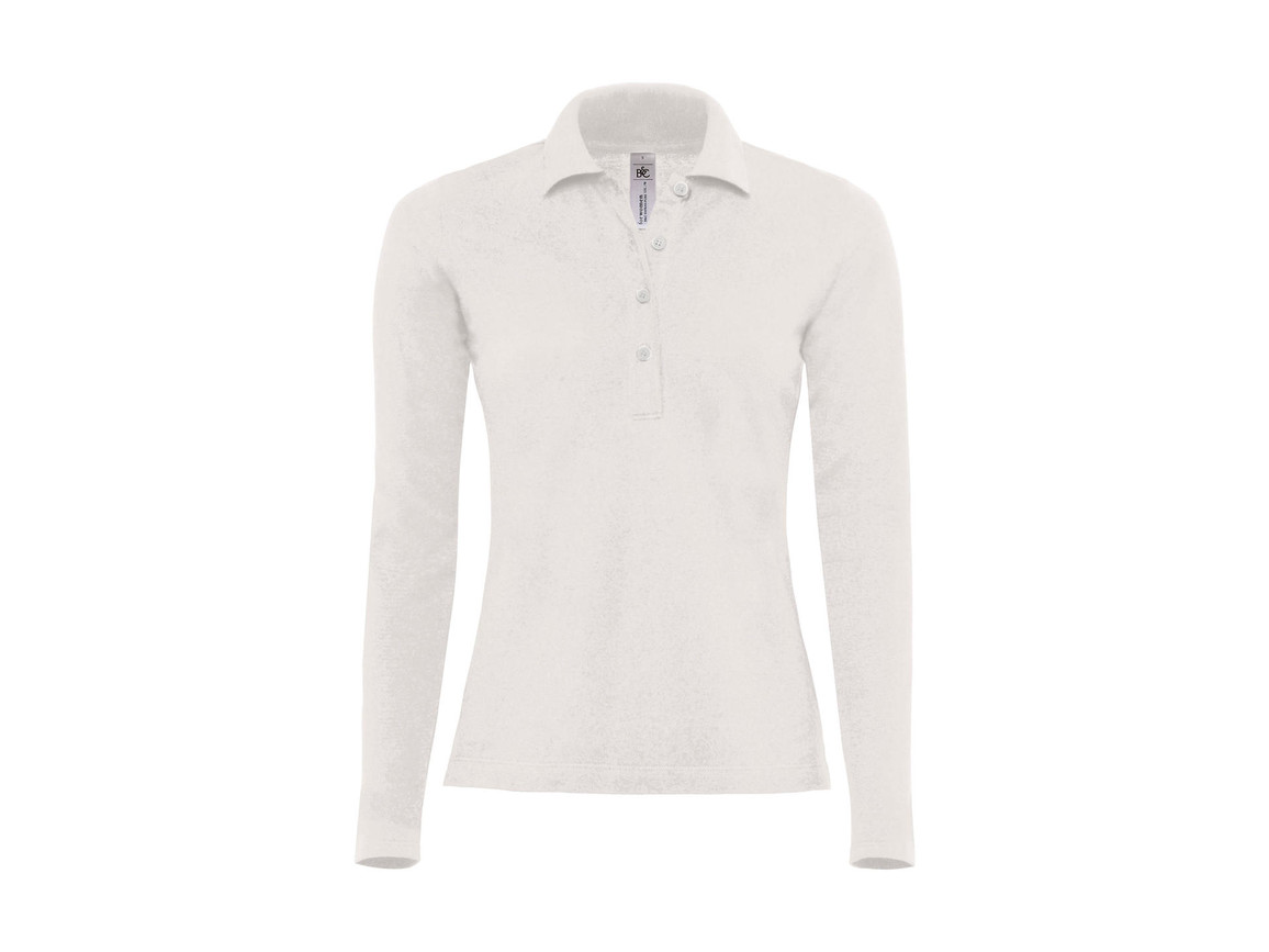 B & C Safran Pure LSL/women Polo, White, L bedrucken, Art.-Nr. 520420005