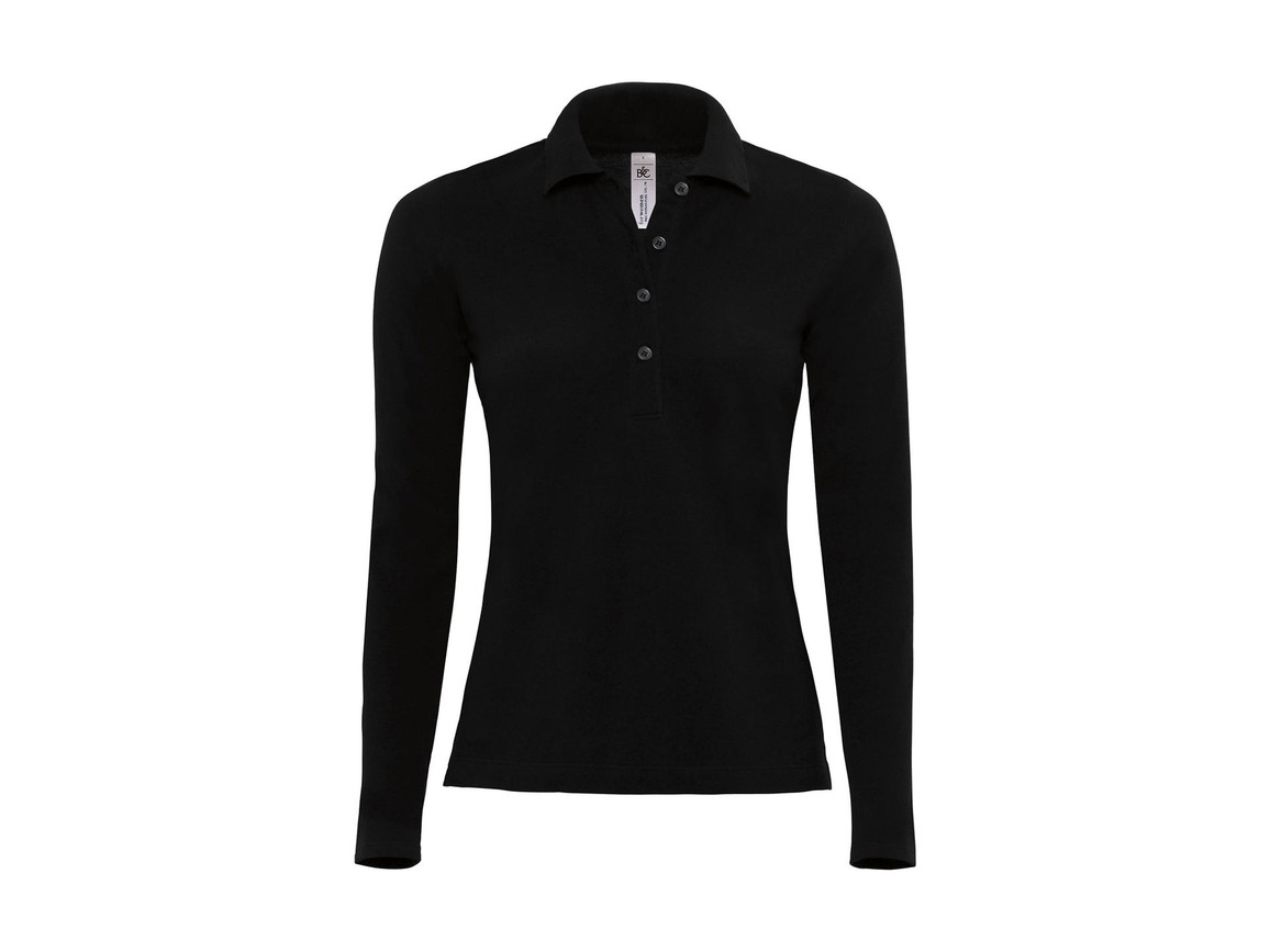 B & C Safran Pure LSL/women Polo, Black, XS bedrucken, Art.-Nr. 520421012