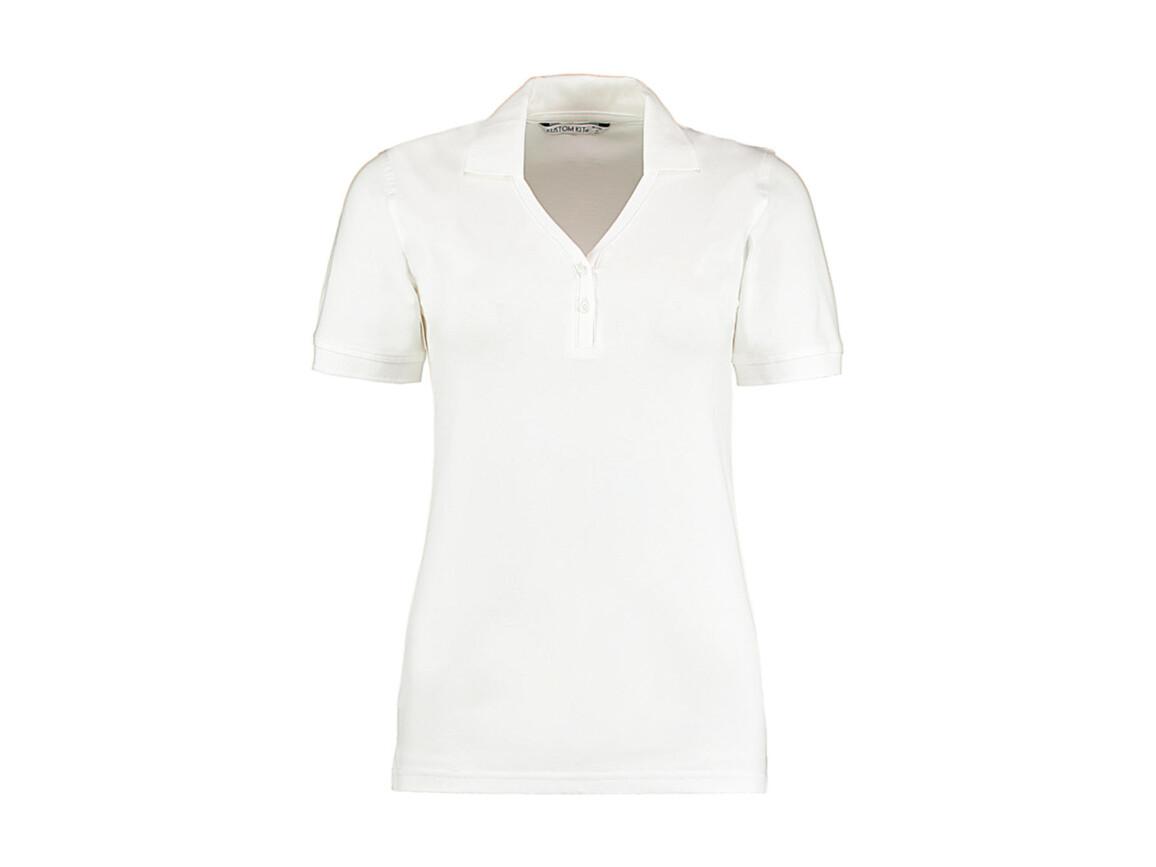 Kustom Kit Women`s Regular Fit Comfortec® V Neck Polo, White, M bedrucken, Art.-Nr. 526110003