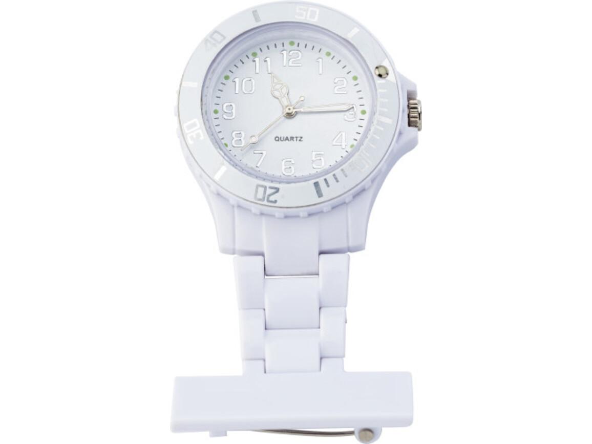 Krankenschwester-Uhr 'Hospital' aus Kunststoff – Weiß bedrucken, Art.-Nr. 002999999_1116