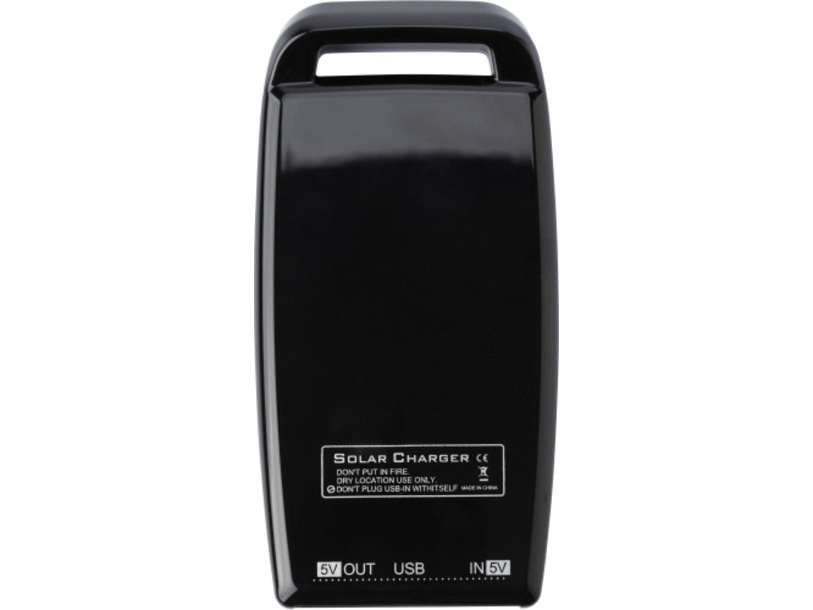 Solar-Aufladegerät 'Booster' aus Kunststoff – Schwarz bedrucken, Art.-Nr. 001999999_2091