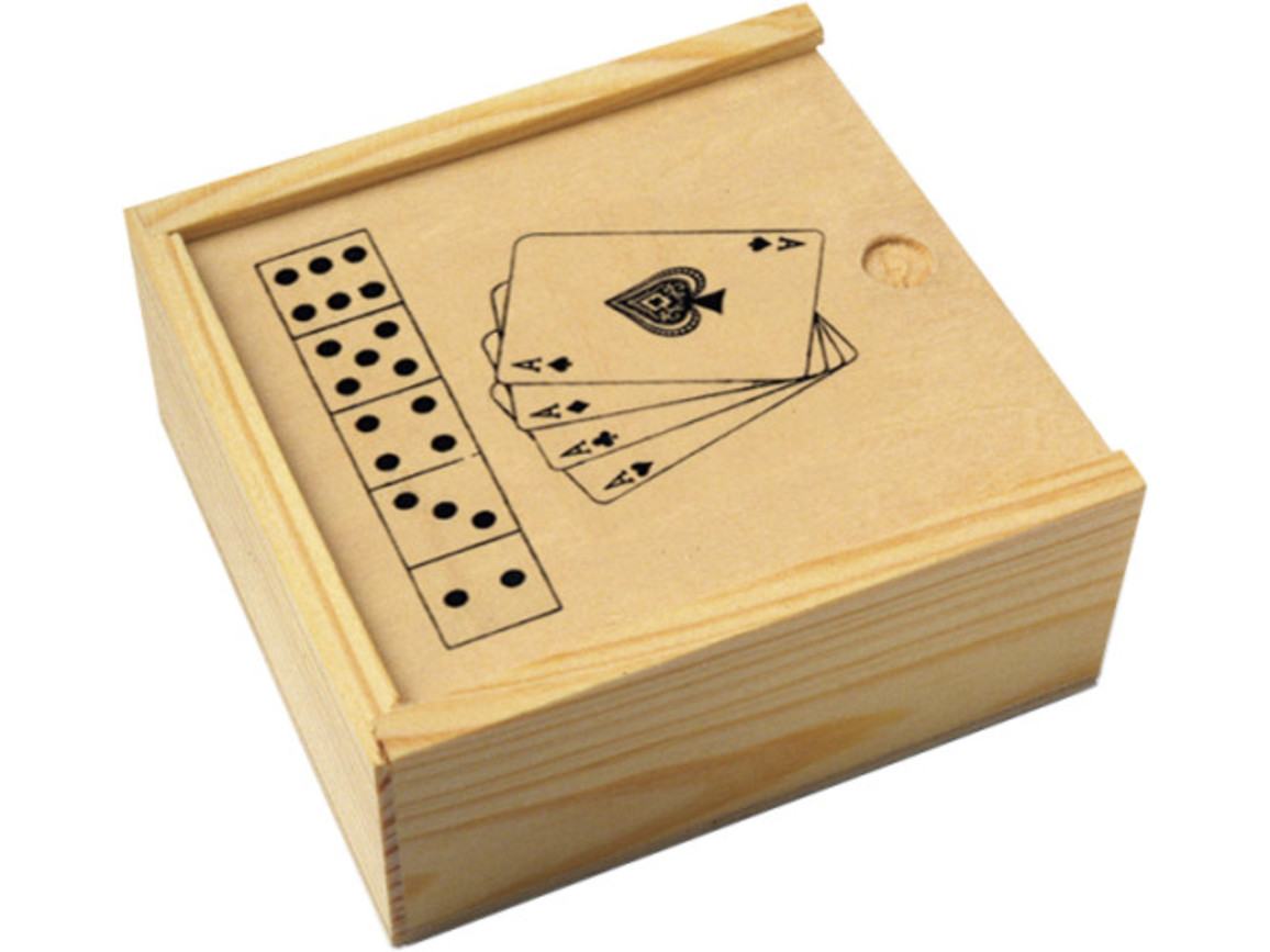 Karten und Würfelspiel 'Nevada' in Holzbox – Neutral bedrucken, Art.-Nr. 999999999_2553
