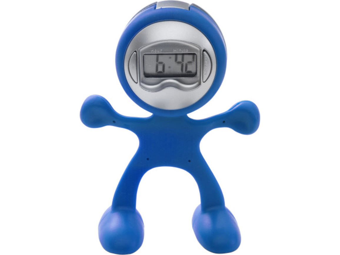 Tischuhr 'Magic Men' aus flexiblem ABS-Kunststoff – Kobaltblau bedrucken, Art.-Nr. 023999999_3073