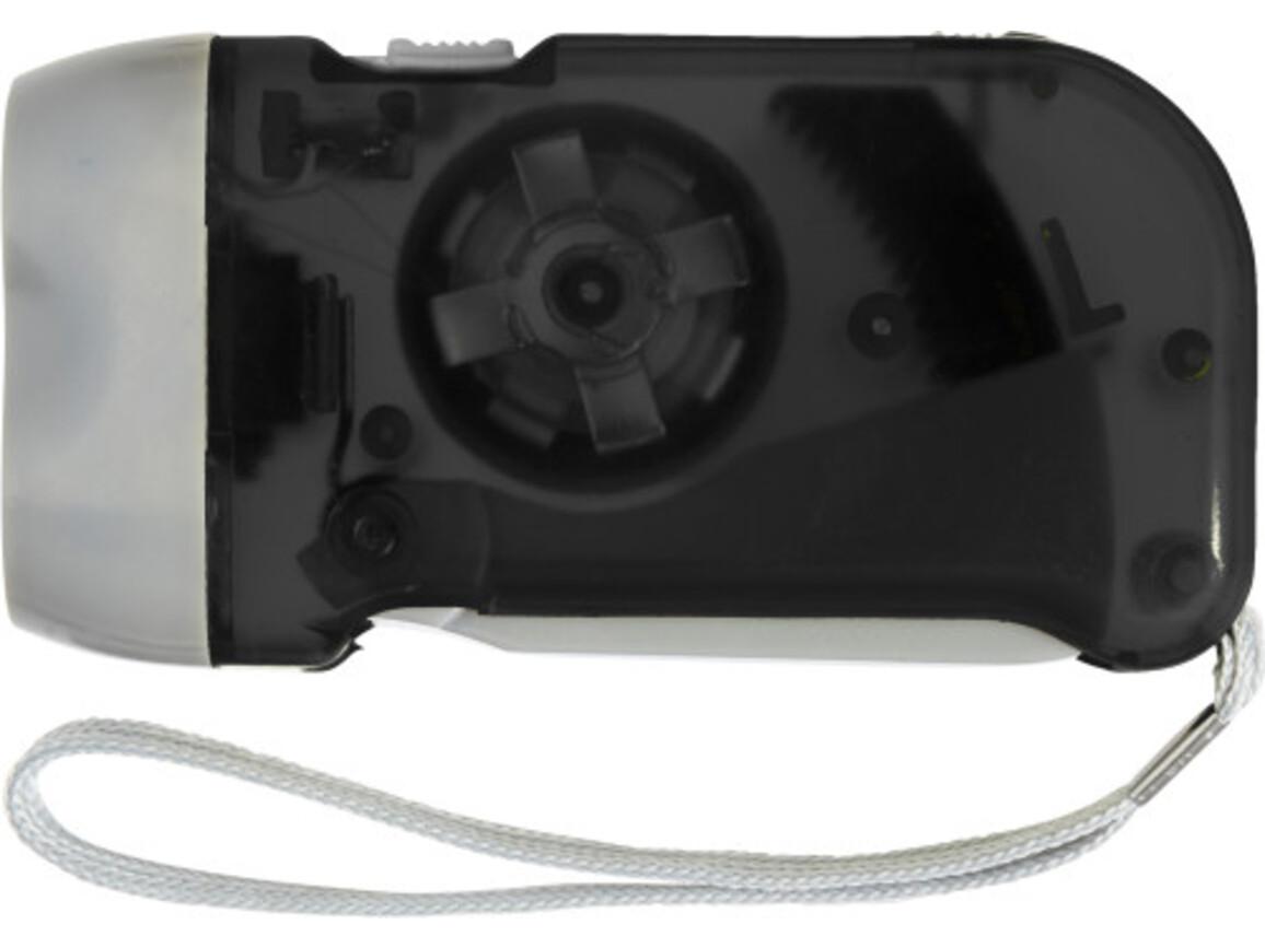 LED-Dynamotaschenlampe 'Mission' aus Kunststoff – Schwarz bedrucken, Art.-Nr. 001999999_4532