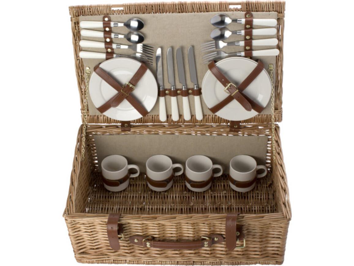 Picknickkorb 'Premium' für 4 Personen – Braun bedrucken, Art.-Nr. 011999999_5795