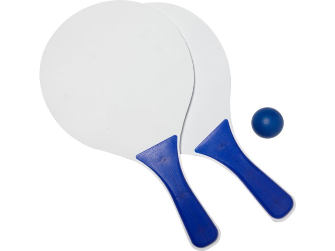 Beachball Tennisspiel 'Costa Brava' aus Holz – Blau bedrucken, Art.-Nr. 005999999_6985
