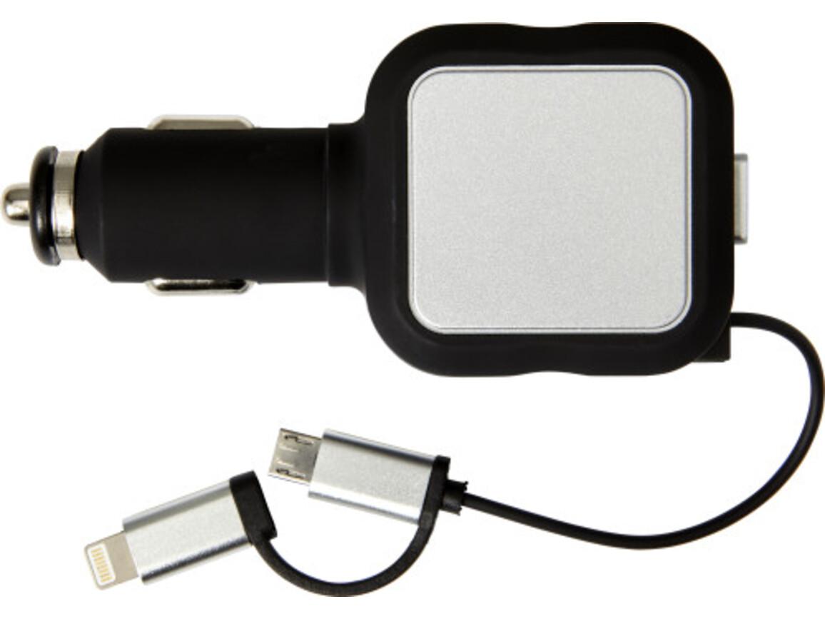 USB-KFZ-Ladestecker 'Square' aus Kunststoff – Schwarz bedrucken, Art.-Nr. 001999999_7691