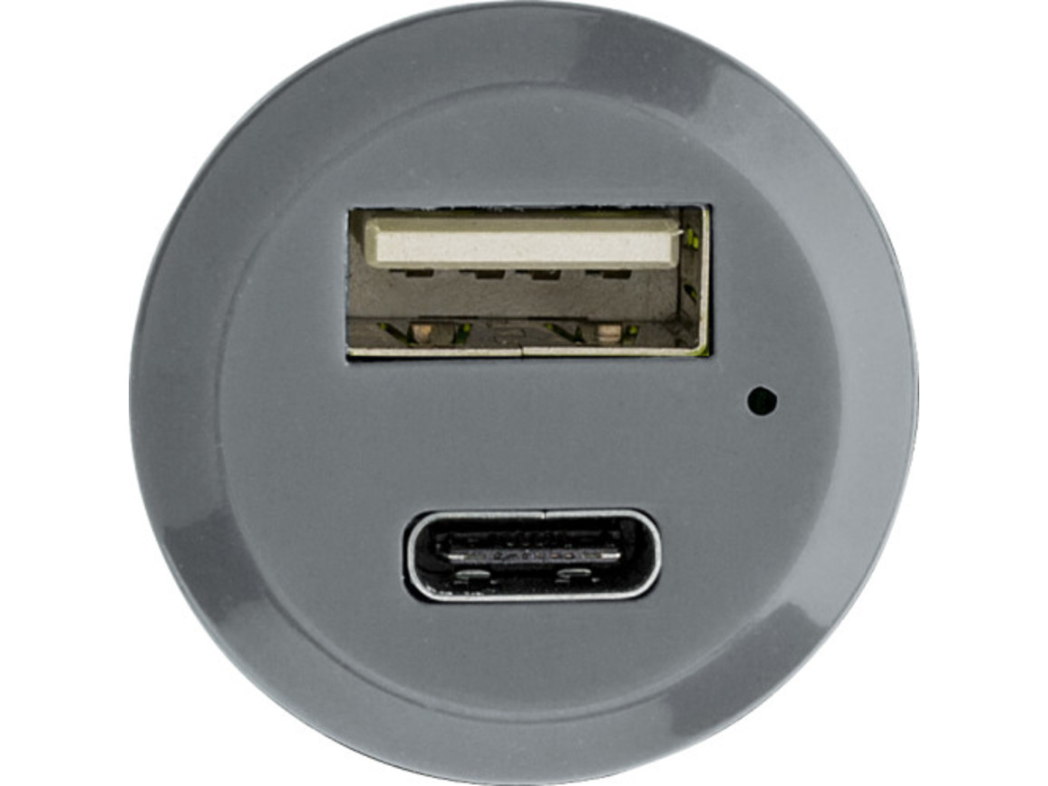 USB-KFZ-Ladestecker 'Jonny' aus Kunststoff – Grau bedrucken, Art.-Nr. 003999999_8156