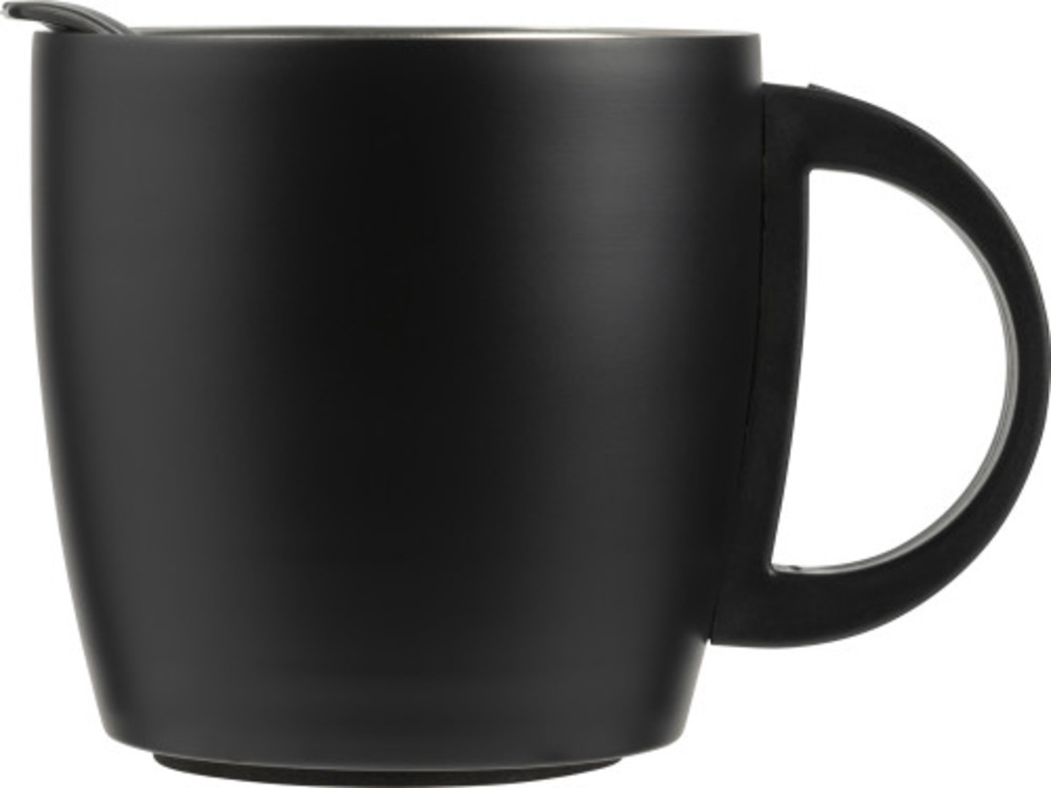 Doppelwandiger Kaffeebecher 'Cowboy' aus Edelstahl (350 ml) – Schwarz bedrucken, Art.-Nr. 001999999_8227
