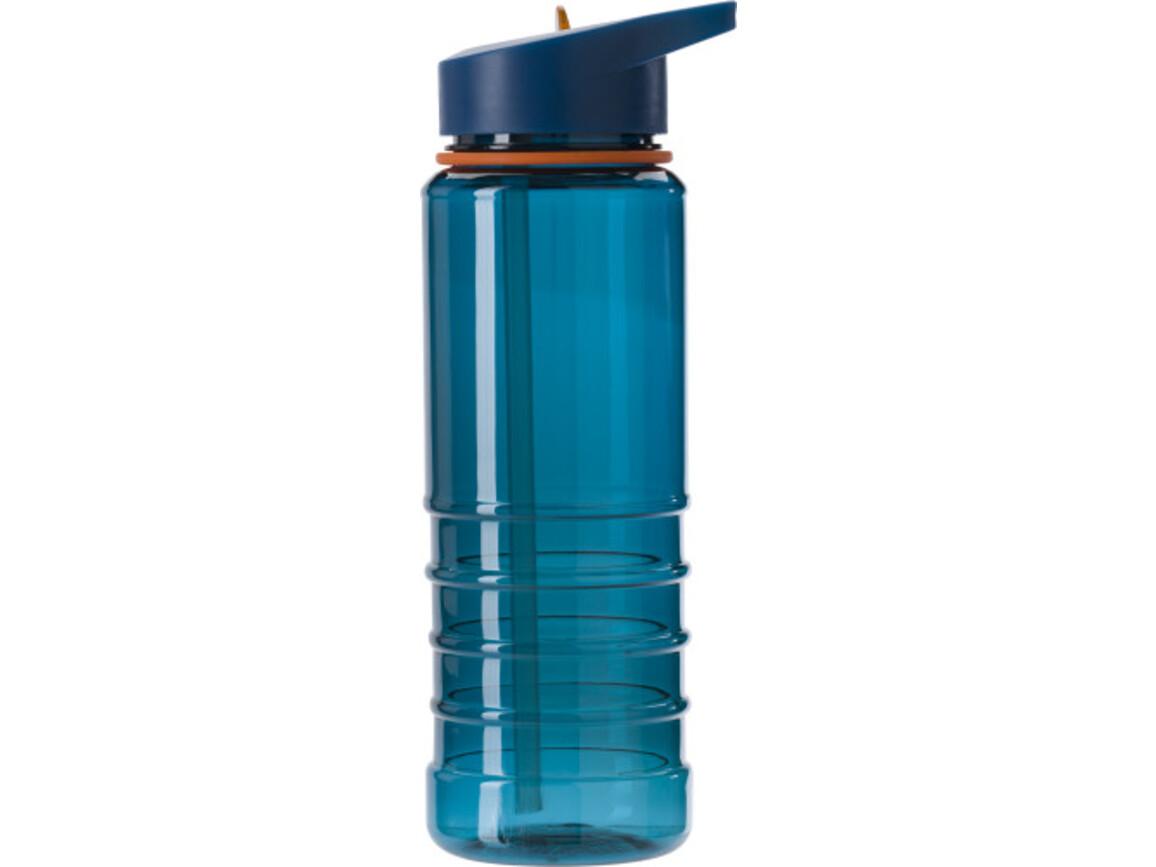 Wasserflasche 'Straw' aus transparentem Kunststoff (700 ml) – Blau bedrucken, Art.-Nr. 005999999_8433
