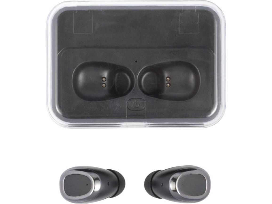 BT-Wireless Kopfhörer 'Detroit' mit Powerbank aus Kunststoff – Schwarz bedrucken, Art.-Nr. 001999999_8445