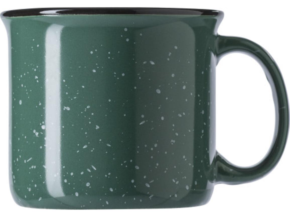 Kaffeebecher 'Vintage' (450 ml) aus Keramik – Grün bedrucken, Art.-Nr. 004999999_8449