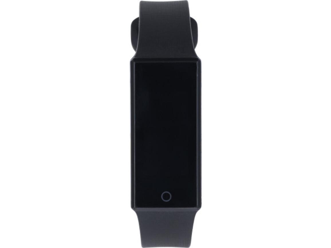Smartwatch 'Smarty' aus Edelstahl mit Silikonband – Schwarz bedrucken, Art.-Nr. 001999999_8481