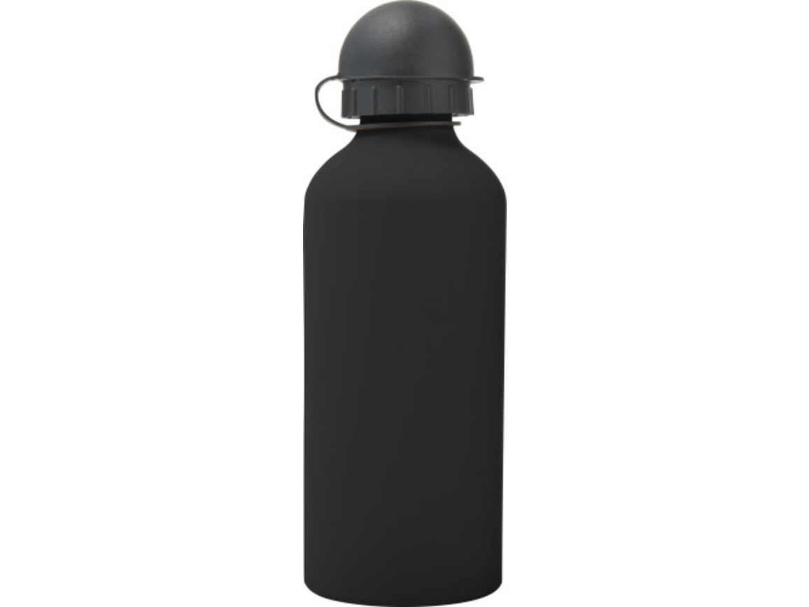 Trinkflasche 'Cap' aus Aluminium (600 ml) – Schwarz bedrucken, Art.-Nr. 001999999_8567