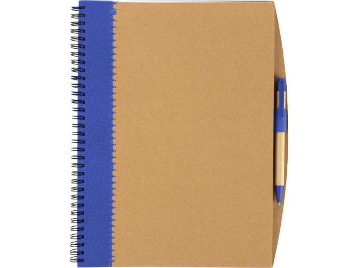 Notizbuch 'Lyrics' aus recycletem Karton mit Stift – Blau bedrucken, Art.-Nr. 005999999_8570
