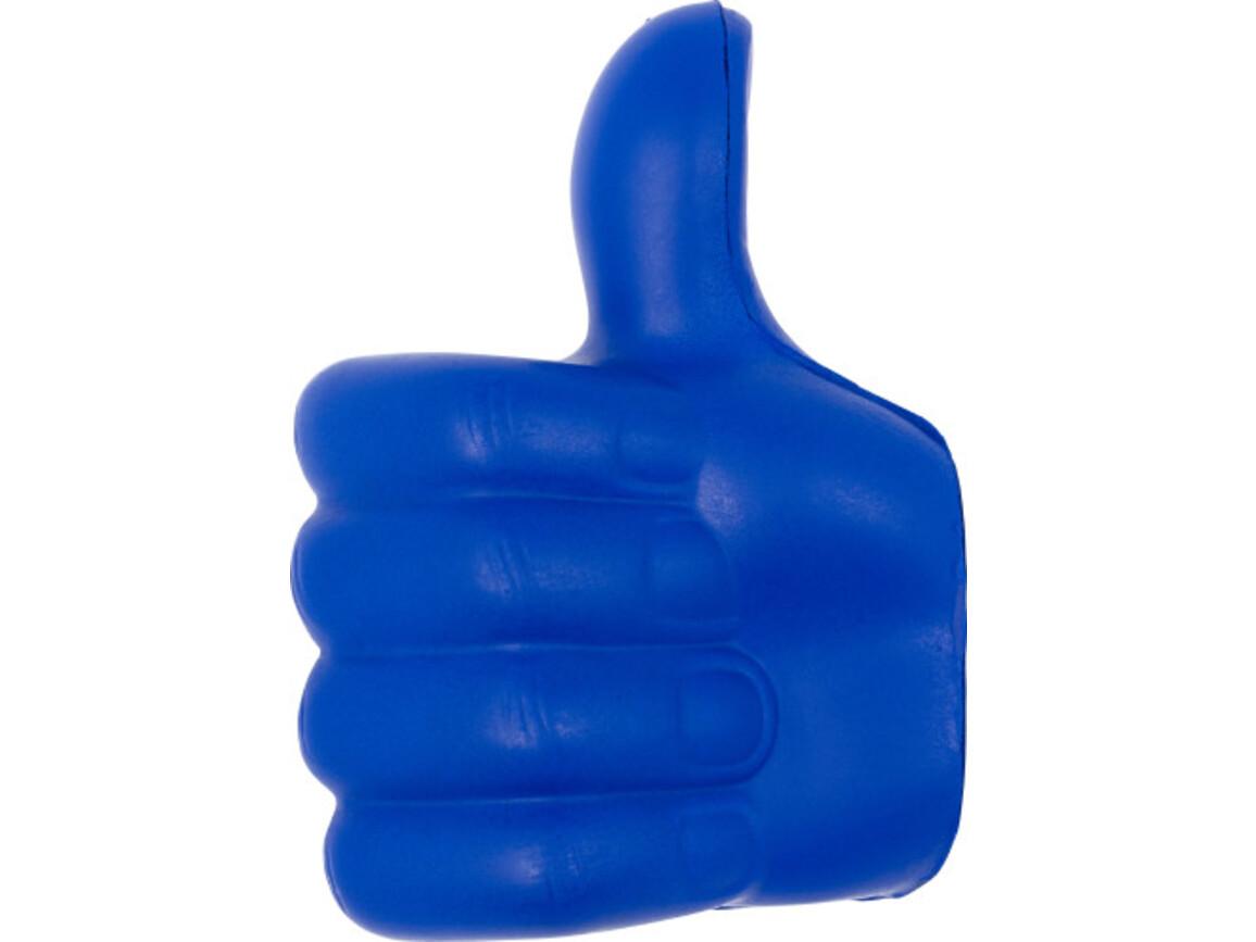 Anti-Stress Daumen 'Up' aus PU – Kobaltblau bedrucken, Art.-Nr. 023999999_8576