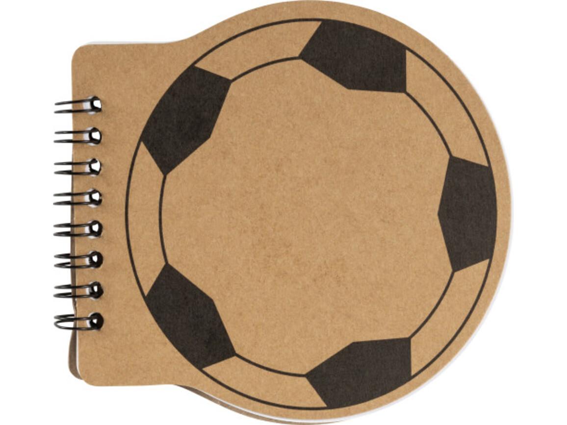 Notizbuch 'Goal' aus Karton mit Fußball-Aufdruck – Braun bedrucken, Art.-Nr. 011999999_8584