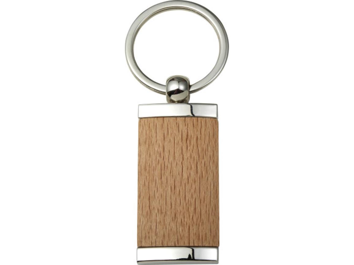 Schlüsselanhänger 'Drift' aus Metall & Holz – Braun bedrucken, Art.-Nr. 011999999_8771