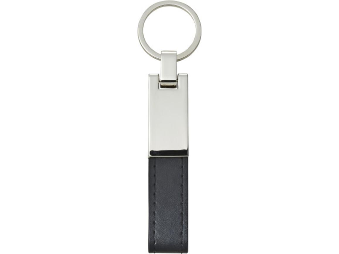 Schlüsselanhänger 'Design' mit Stahlplatte und Kunsstofflasche – Schwarz bedrucken, Art.-Nr. 001999999_8779