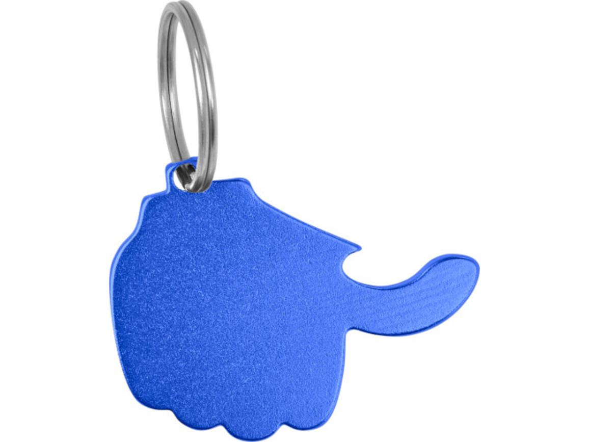 Schlüsselanhänger 'Thumb' mit Kapselheber aus Aluminium – Kobaltblau bedrucken, Art.-Nr. 023999999_8876