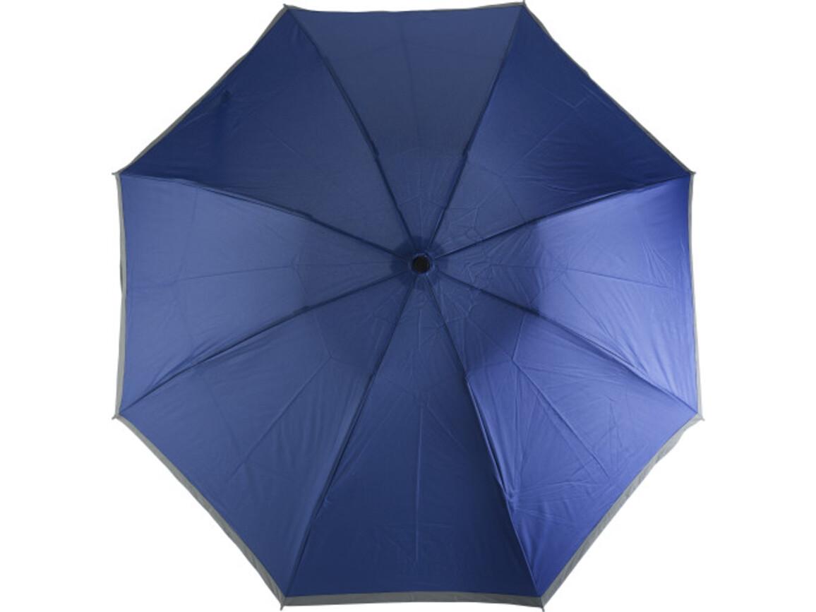 Reversibler Taschenschirm 'Sarah' mit Reflektorstreifen aus Pongee – Kobaltblau bedrucken, Art.-Nr. 023999999_8980