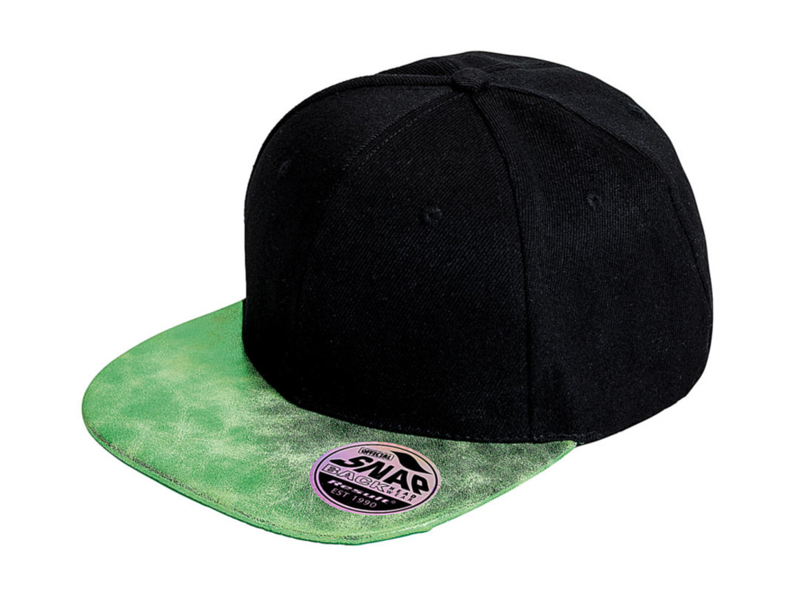 Result Caps Bronx Glitter Flat Peak Snapback Cap, Black/Green, One Size bedrucken, Art.-Nr. 010341420