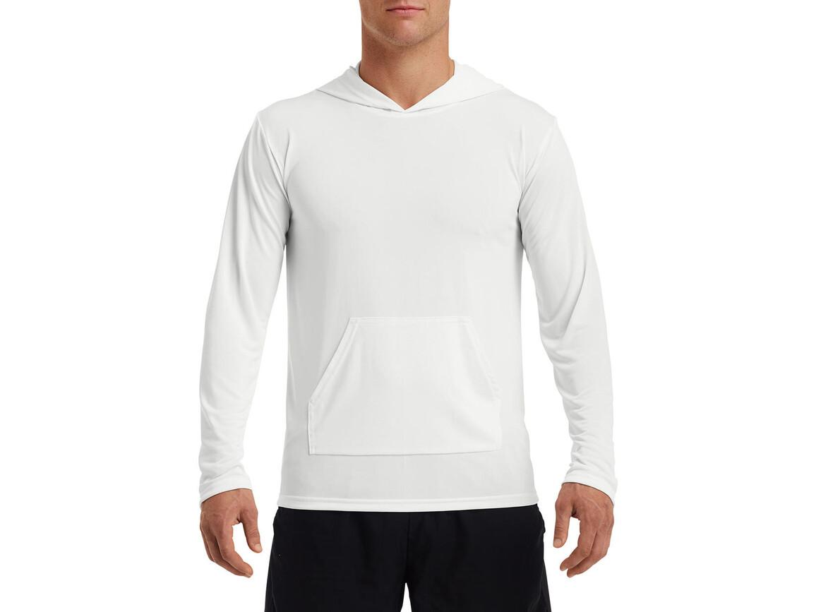 Gildan Performance® Adult Hooded T-Shirt, White, L bedrucken, Art.-Nr. 013090005