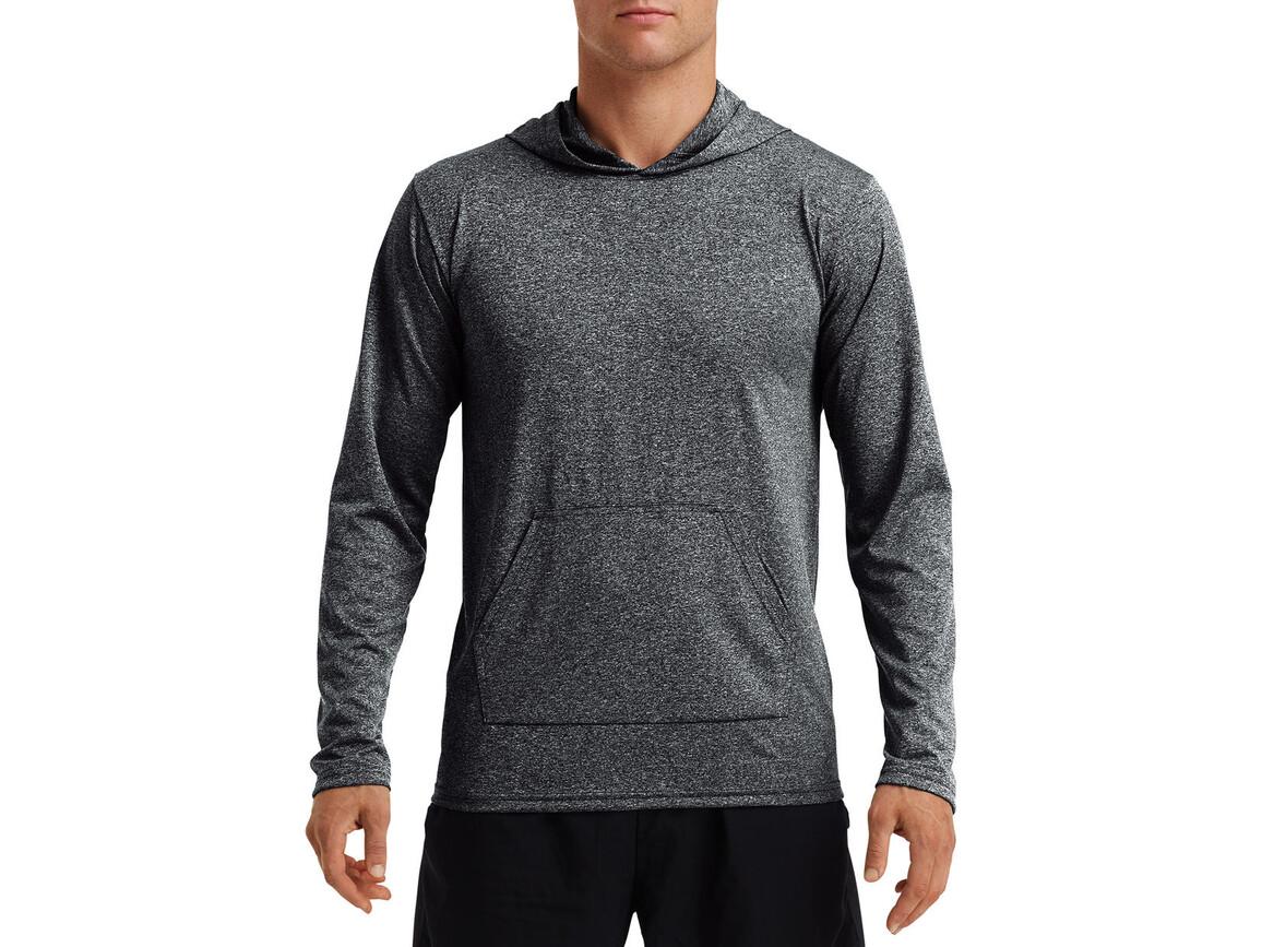 Gildan Performance® Adult Hooded T-Shirt, Heather Sport Black, 2XL bedrucken, Art.-Nr. 013091047