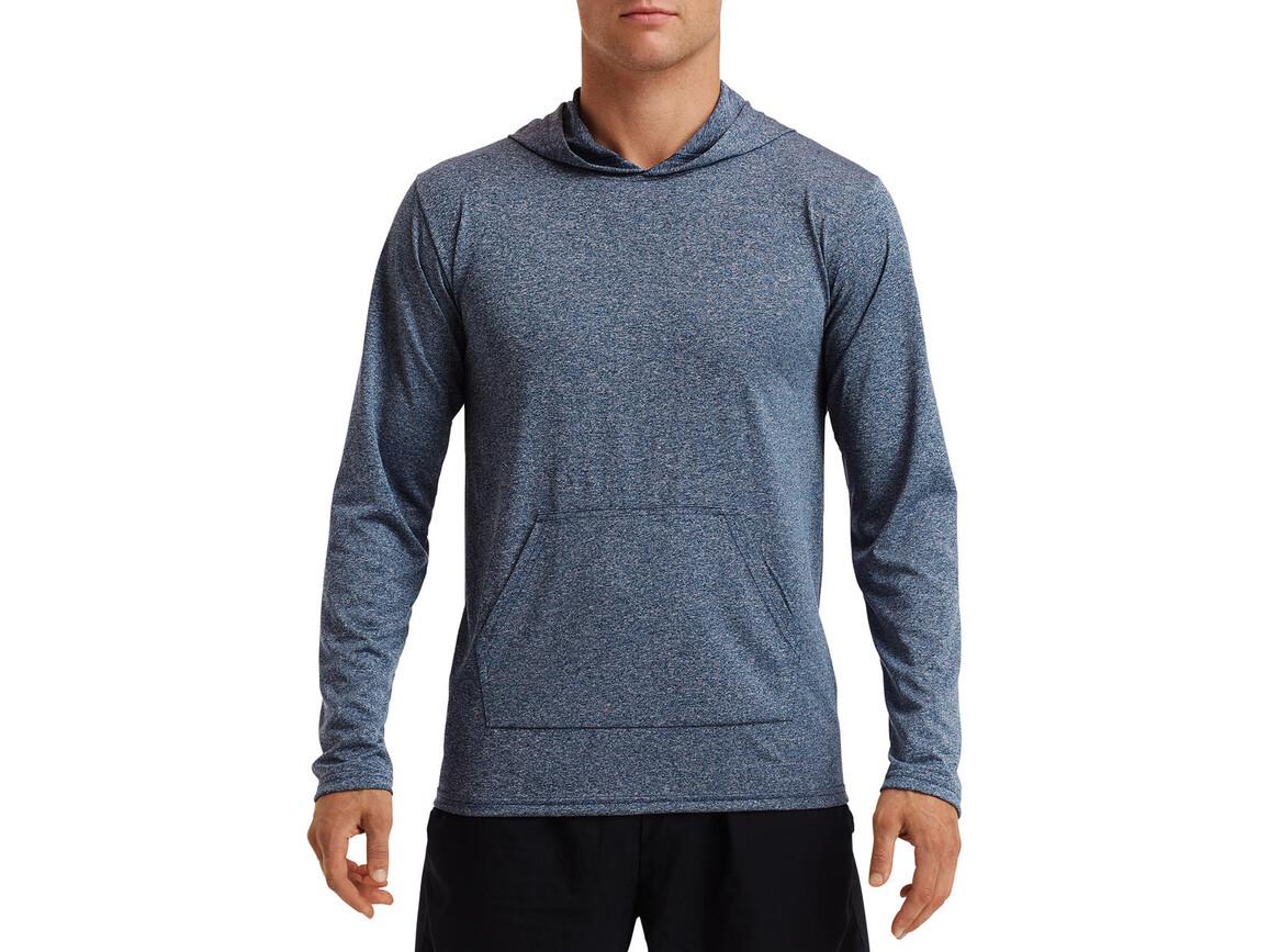 Gildan Performance® Adult Hooded T-Shirt, Heather Sport Dark Navy, XL bedrucken, Art.-Nr. 013092136