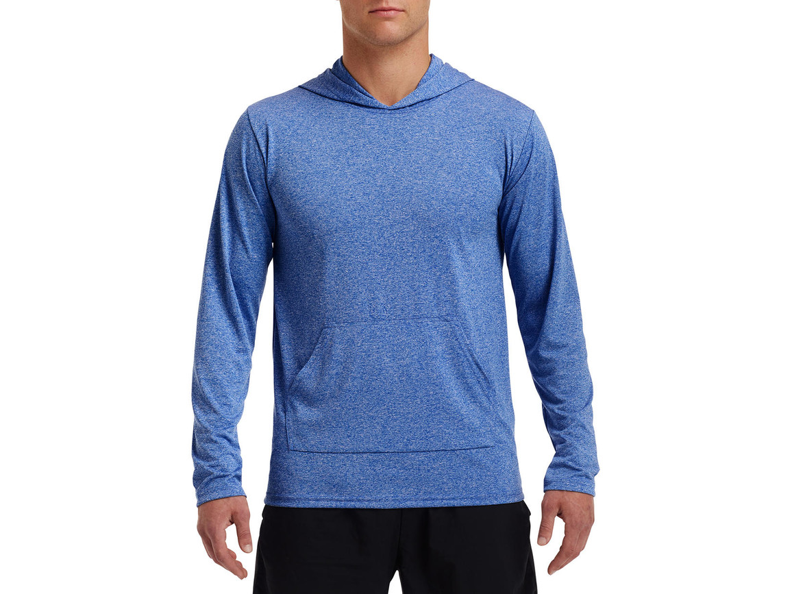 Gildan Performance® Adult Hooded T-Shirt, Heather Sport Royal, 2XL bedrucken, Art.-Nr. 013093127