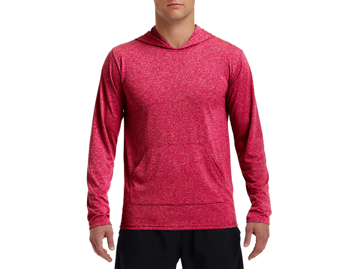 Gildan Performance® Adult Hooded T-Shirt, Heather Sport Scarlet Red, L bedrucken, Art.-Nr. 013094215