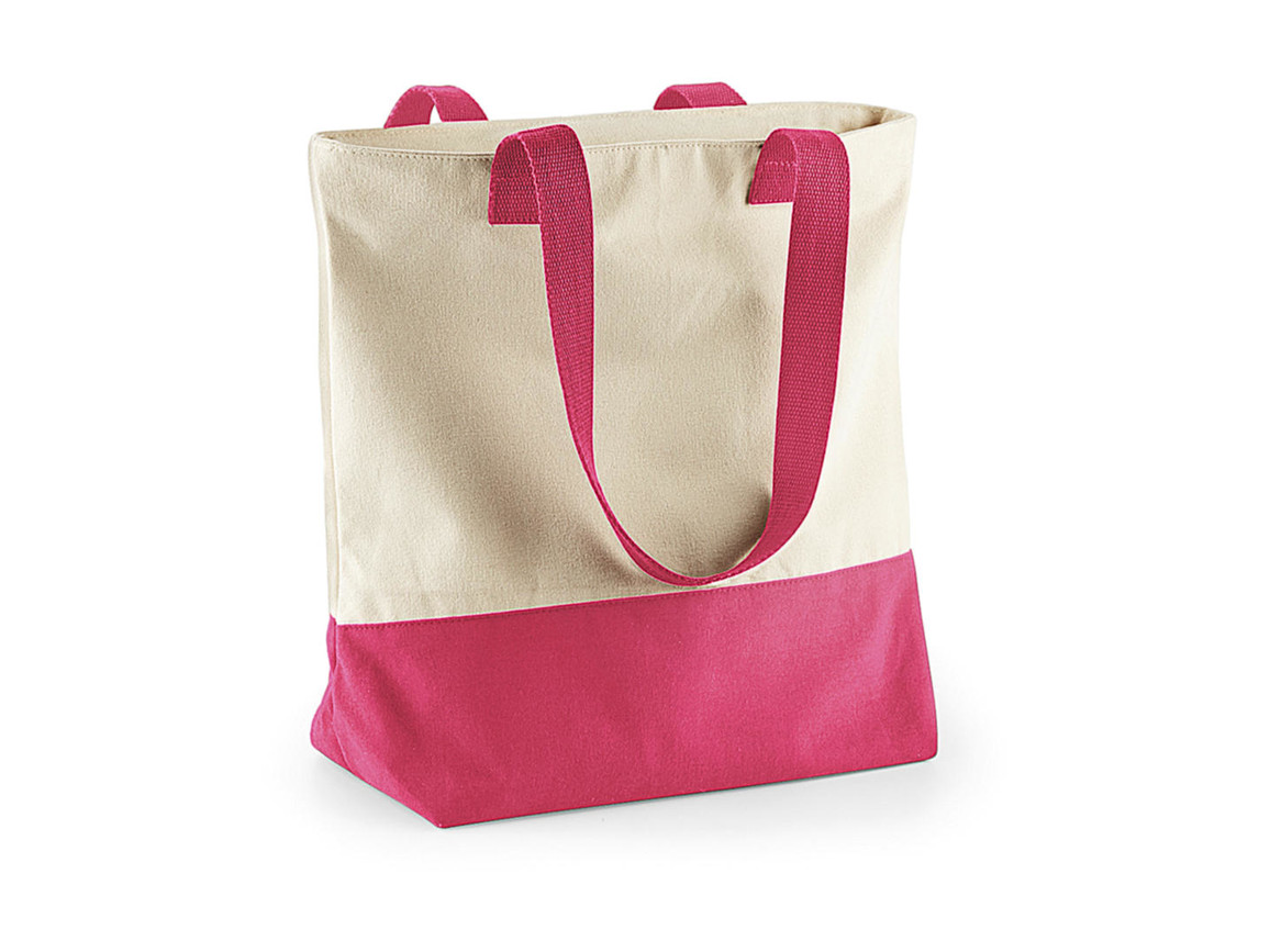 Bag Base Westcove Canvas Tote, Natural/True Pink, One Size bedrucken, Art.-Nr. 015290690