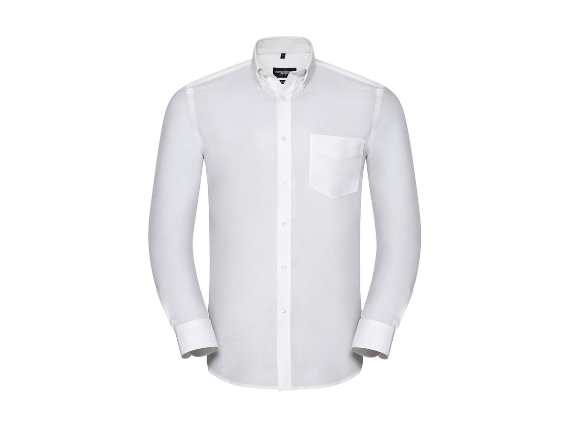 Russell Europe Men`s LS Tailored Button-Down Oxford Shirt, White, M bedrucken, Art.-Nr. 021000004