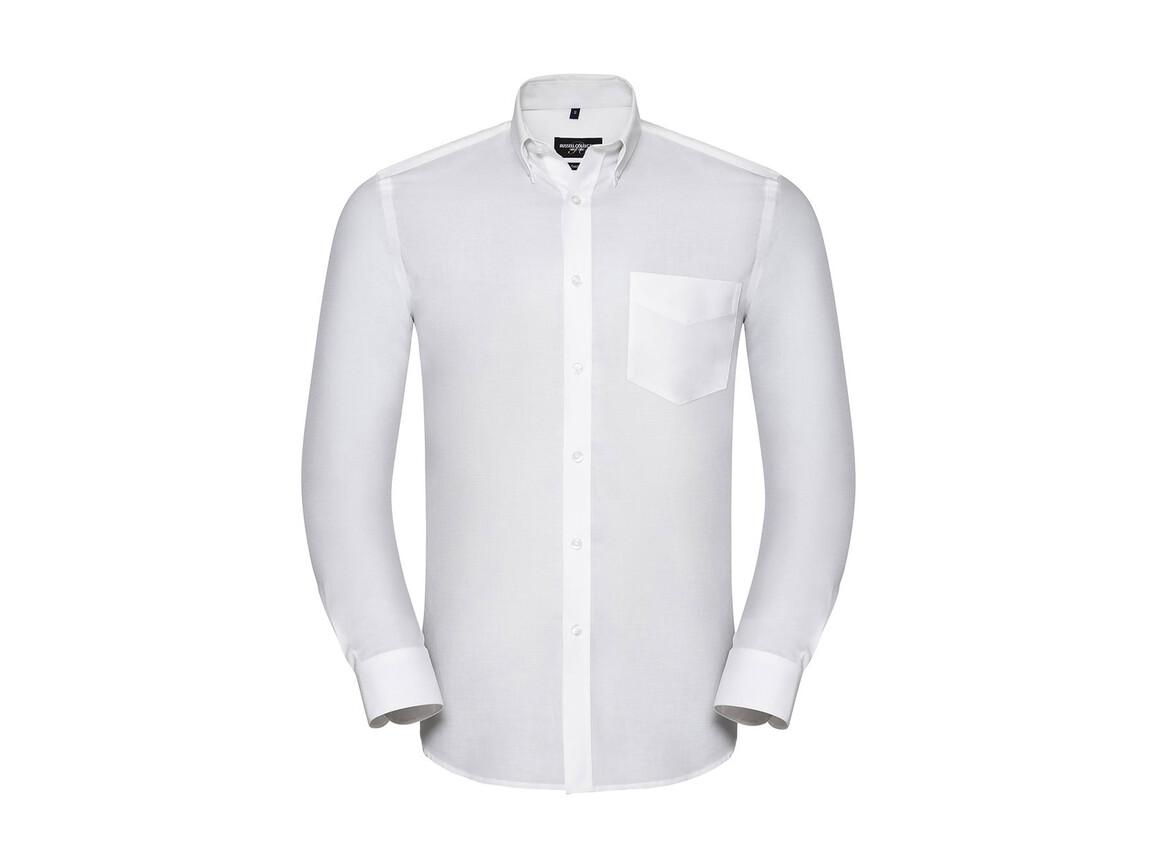 Russell Europe Men`s LS Tailored Button-Down Oxford Shirt, White, S bedrucken, Art.-Nr. 021000003